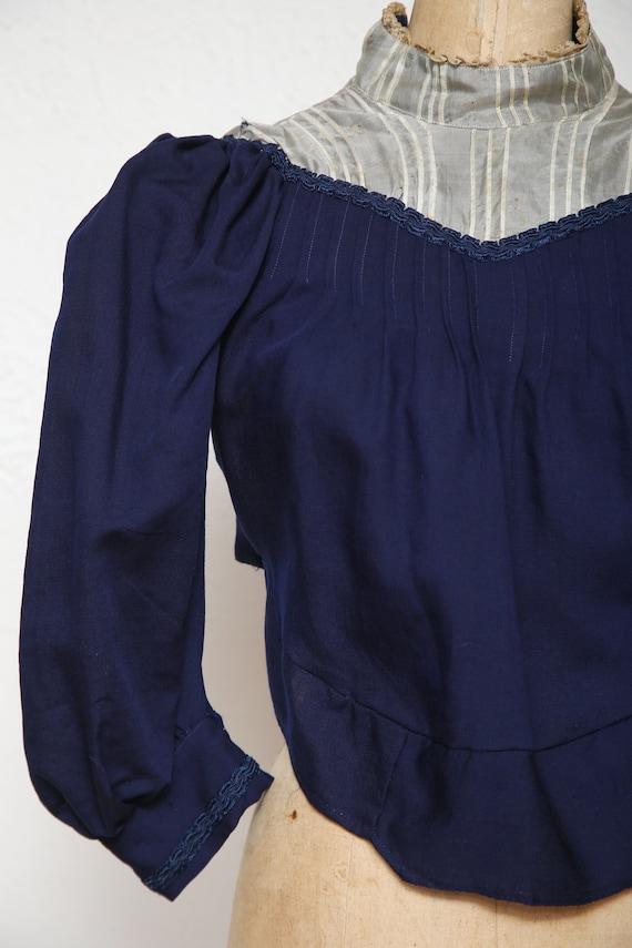 1800s Navy Blue Top . Antique Blouse - image 6