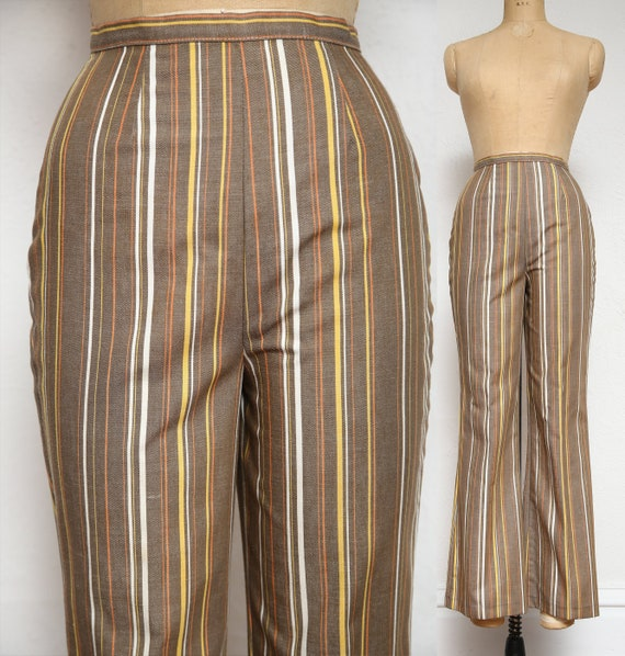 Striped Bell Bottom Pants . 1970s Slacks