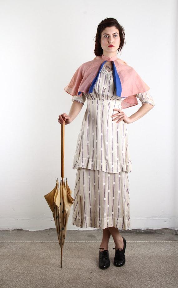 Edwardian Gown & Cape . Antique Polka Dot 1910s Dr