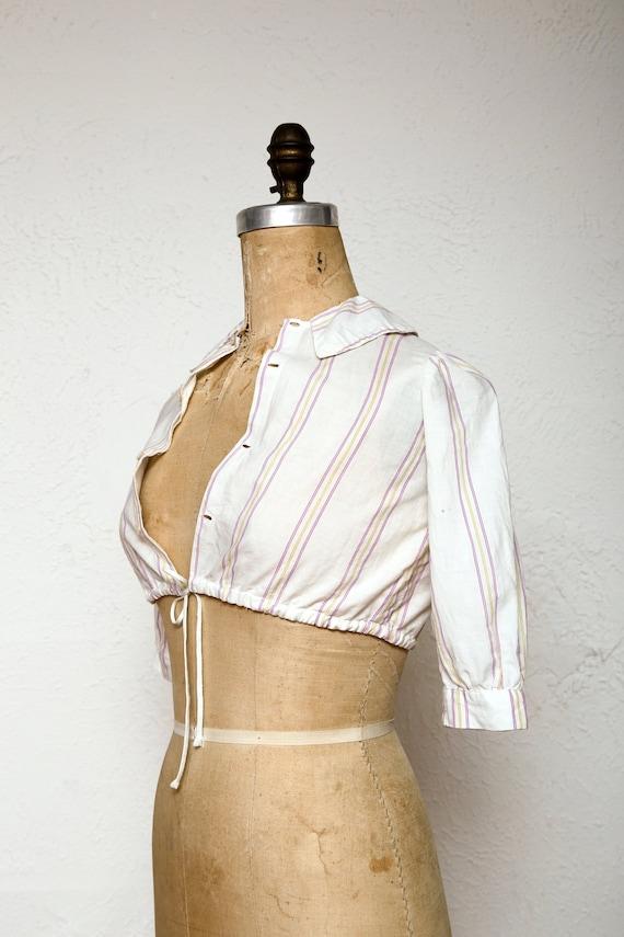 Antique Crop Top 1910s Cotton Blouse - image 1