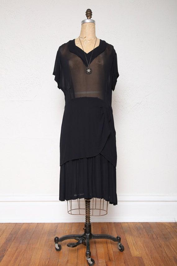 1940s Sheer Black Dress LBD