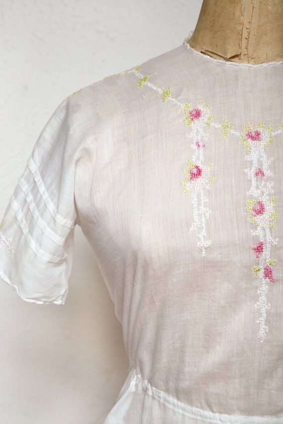 Embroidered Antique Top 1910s Cotton Blouse - image 2