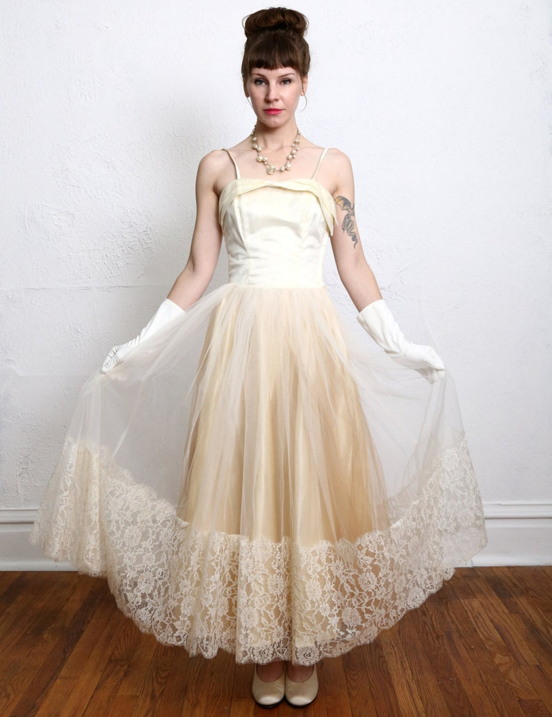 1950s Champagne Party Dress