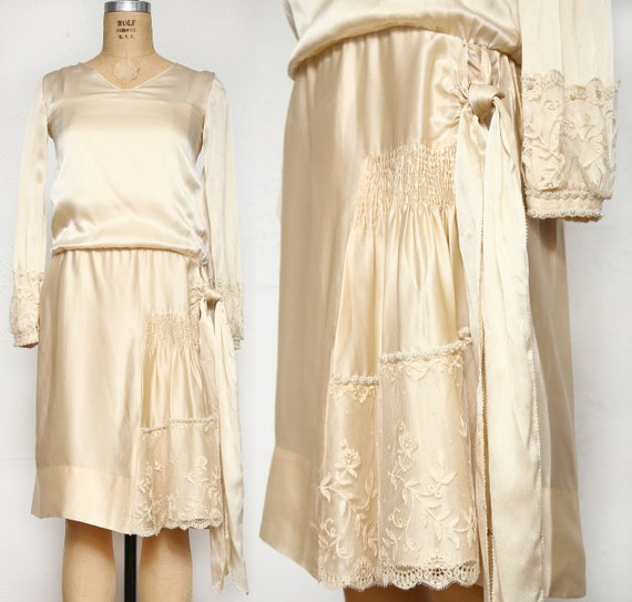 Antique Satin Dress . Deco Wedding Dress