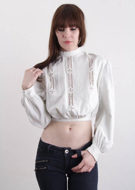 Victorian Blouse Puff Sleeve . Cut Outs . XS - image 2