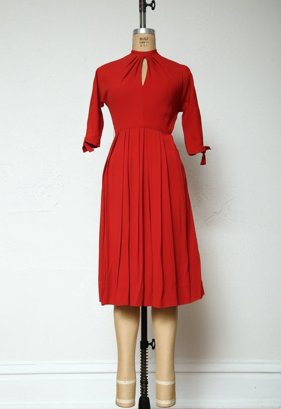 Red Dress . Key Hole Neck & Cuffs