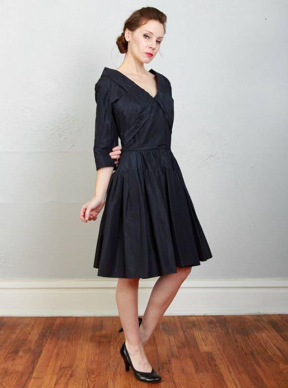 1950s Navy Taffeta Dress