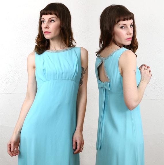 1960s Open Back Dress . Robins Egg Blue - image 2