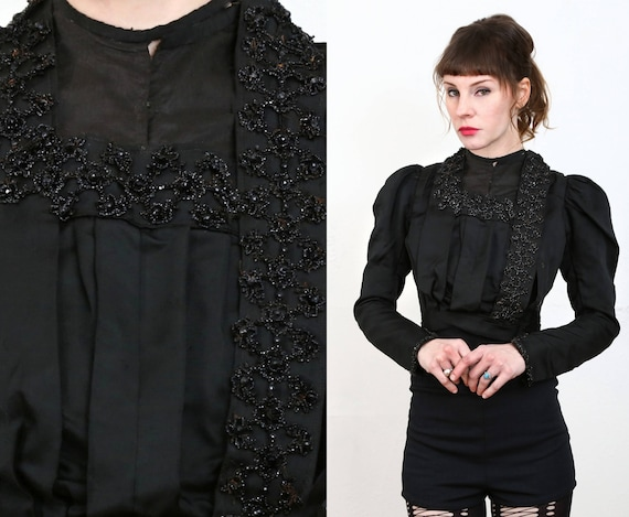 Beaded Victorian Top 1800s Blouse - image 3