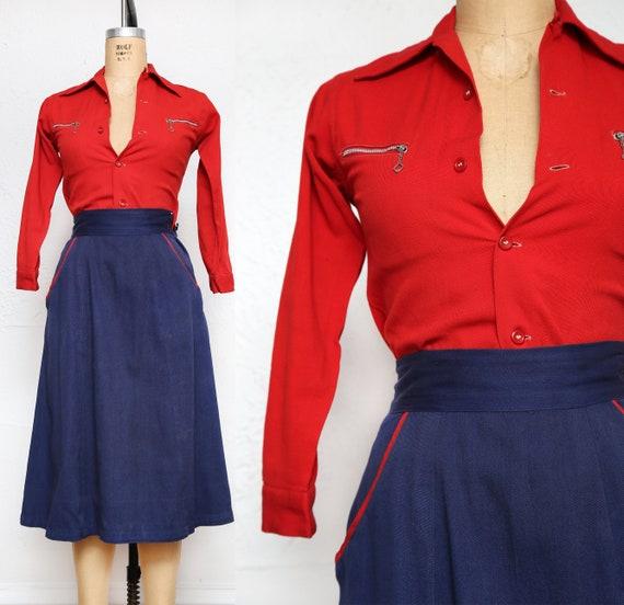 Denim Shirt & Skirt Set