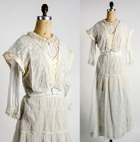 1910s Edwardian Blouse & Skirt Set