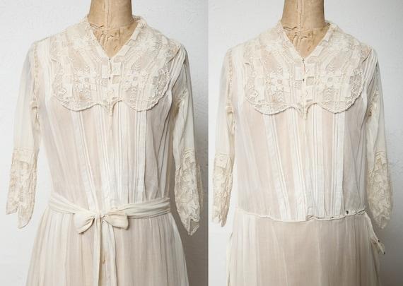Antique 1900s Lace Dress Ivory Cotton Gown - image 5