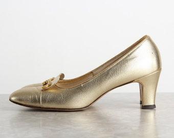 Gold Shoes . High Heel Footwear