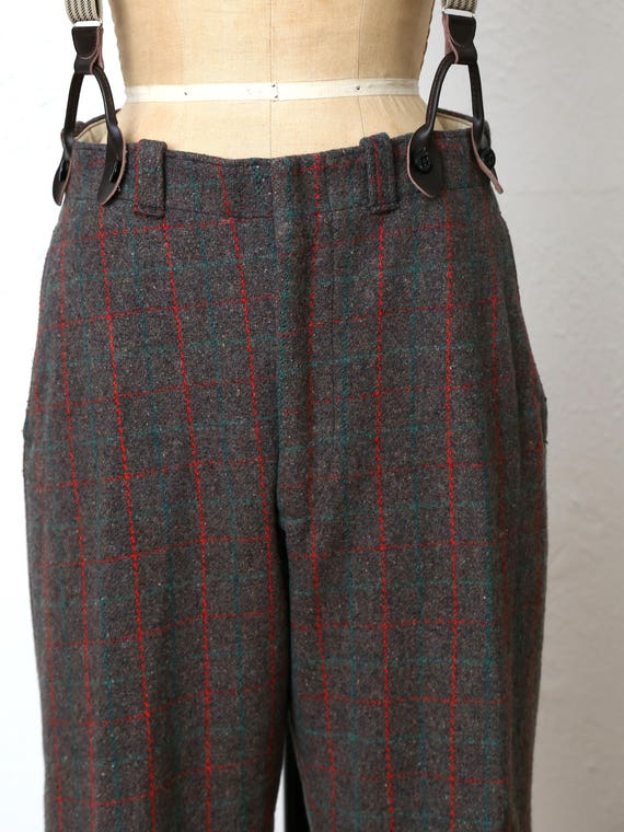 Vintage Wool Pants . Red Green Plaid - image 4