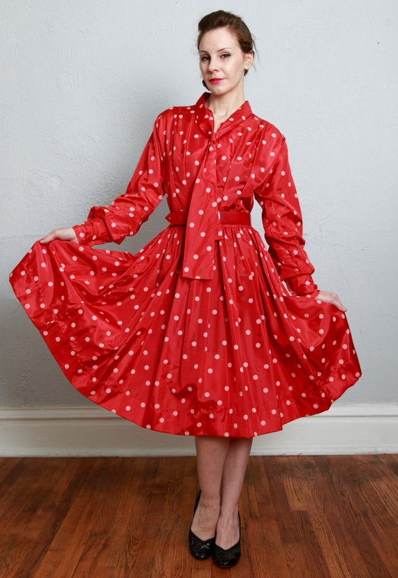 1960s Red Polka Dot Dress