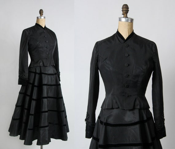 1940s Two Piece Set in Black Taffeta