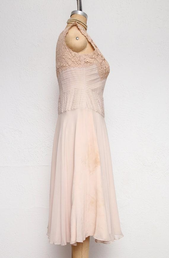 Beige Chiffon Pleated Dress - image 3
