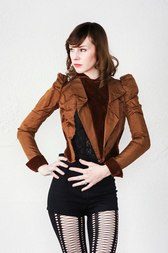 Antique Victorian Jacket . Brown Velvet