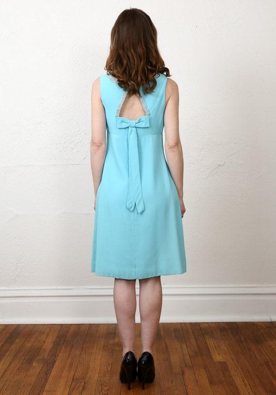 1960s Open Back Dress . Robins Egg Blue - image 4