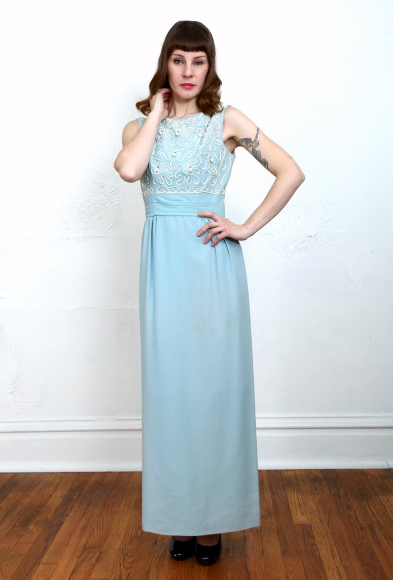 1960s Blue Maxi Dress Formal Gown