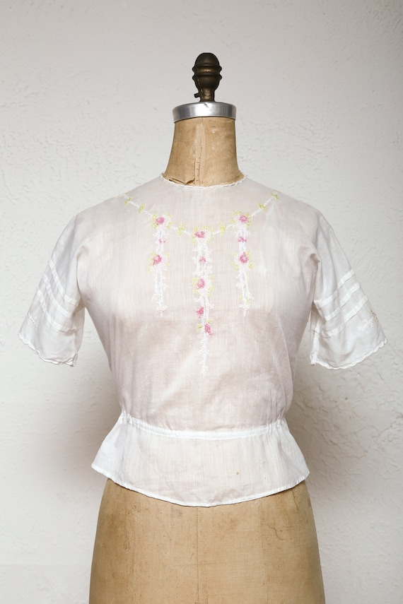 Embroidered Antique Top 1910s Cotton Blouse
