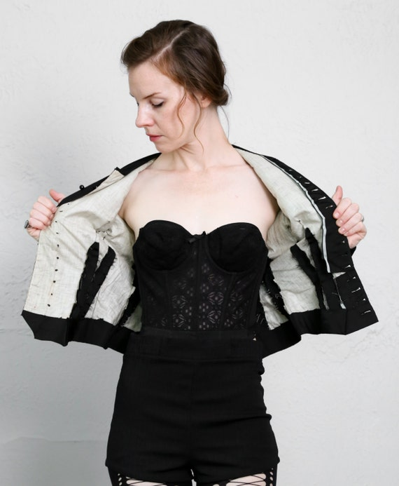 1800s Victorian Top Black Antique Blouse - image 5