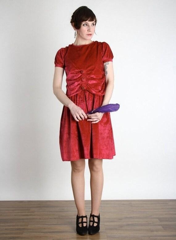 1920s Velvet Flapper Dress . Magenta . Small XS