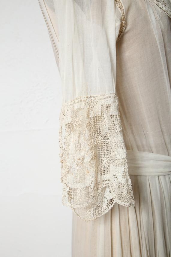 Antique 1900s Lace Dress Ivory Cotton Gown - image 3