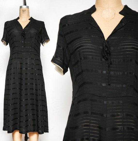 1940s Sheer Black Striped Dress