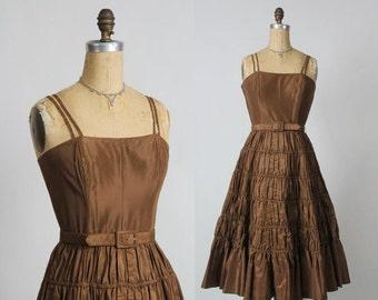 Taffeta Dress in Brown with Ruching