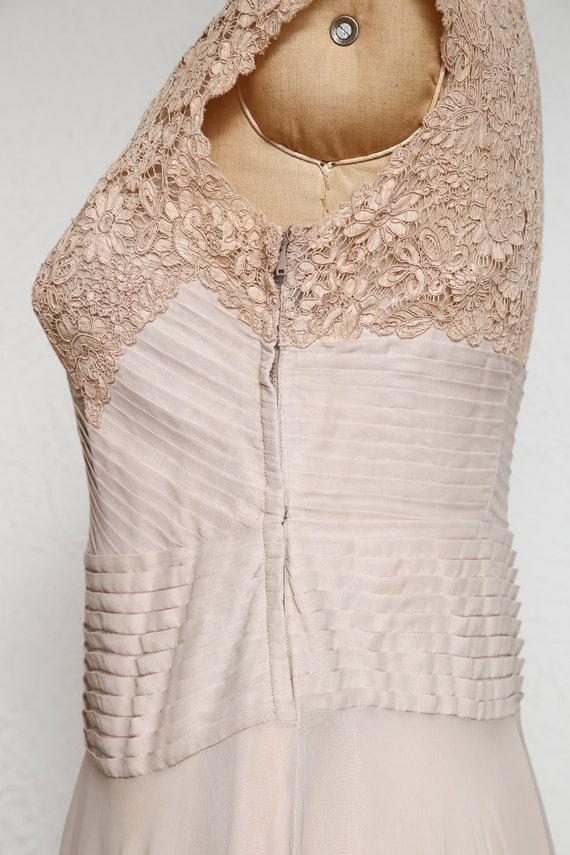 Beige Chiffon Pleated Dress - image 7