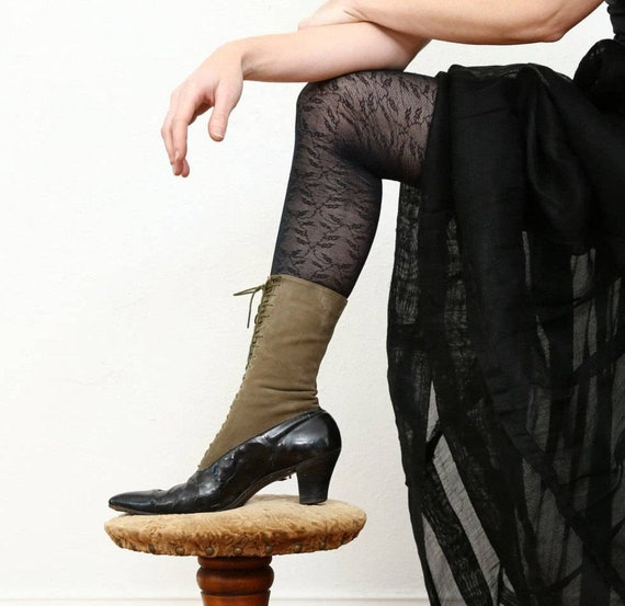 Victorian Suede Boots Calf Length