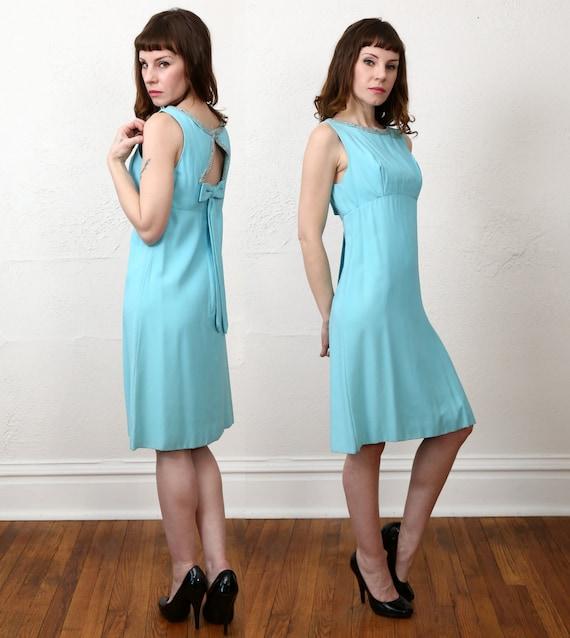 1960s Open Back Dress . Robins Egg Blue - image 3
