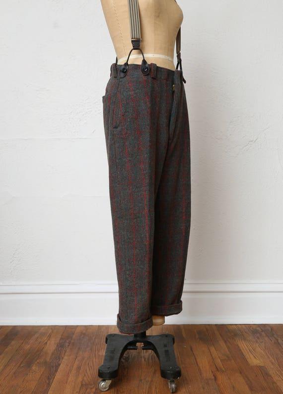 Vintage Wool Pants . Red Green Plaid - image 6