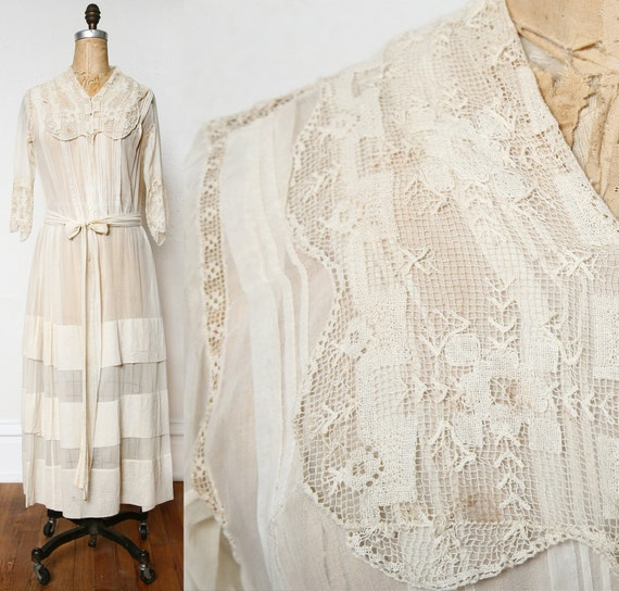 Antique 1900s Lace Dress Ivory Cotton Gown