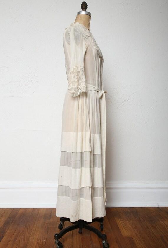 Antique 1900s Lace Dress Ivory Cotton Gown - image 8