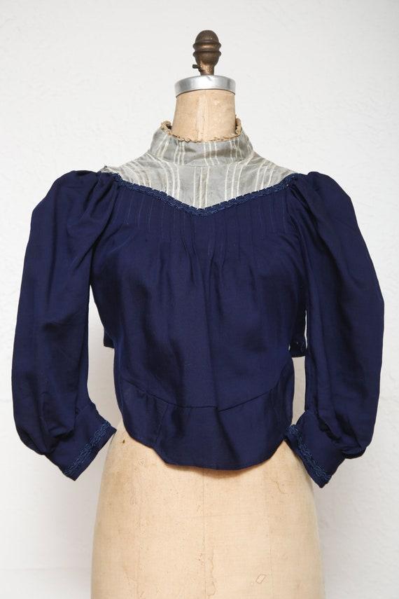 1800s Navy Blue Top . Antique Blouse - image 9