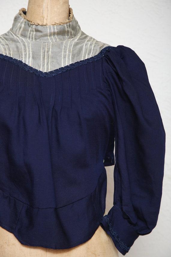 1800s Navy Blue Top . Antique Blouse - image 2