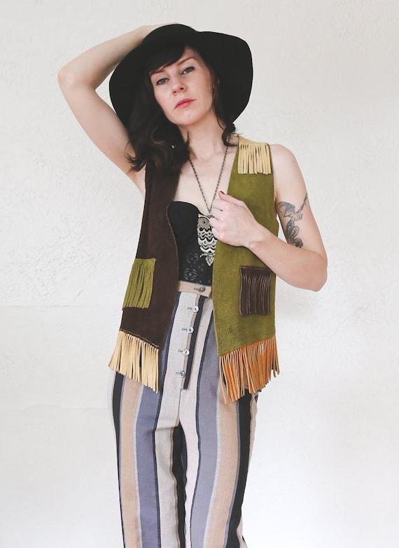 Suede Color Block Vest . 70s