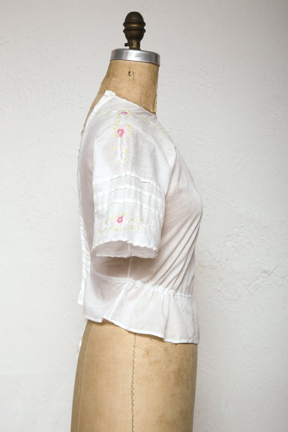 Embroidered Antique Top 1910s Cotton Blouse - image 4