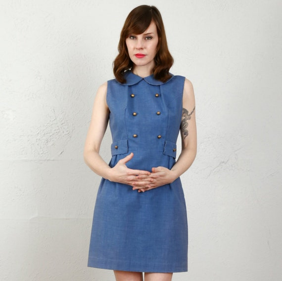 1960s MOD Blue Dress