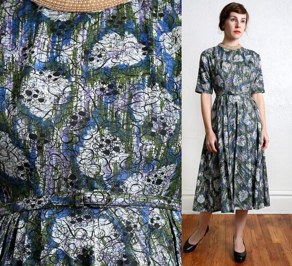 1950s Taffeta & Pearls Dress