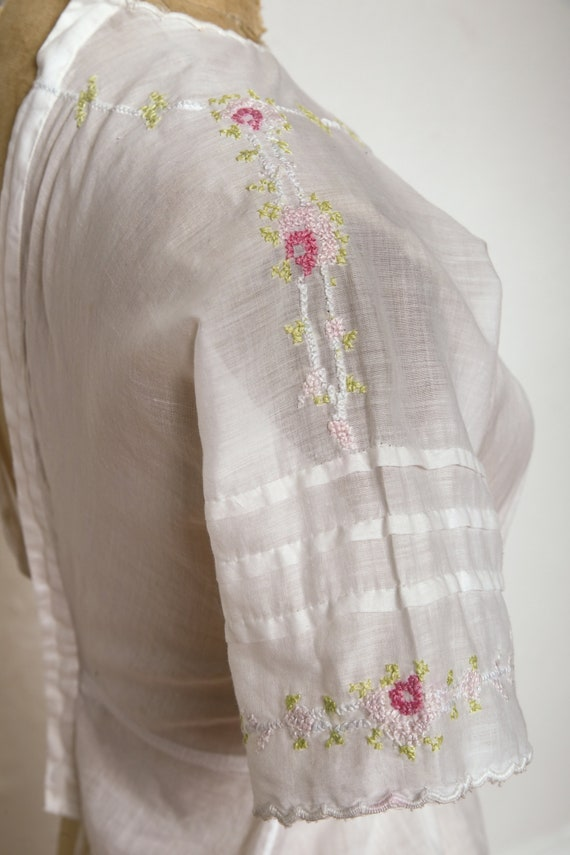 Embroidered Antique Top 1910s Cotton Blouse - image 3
