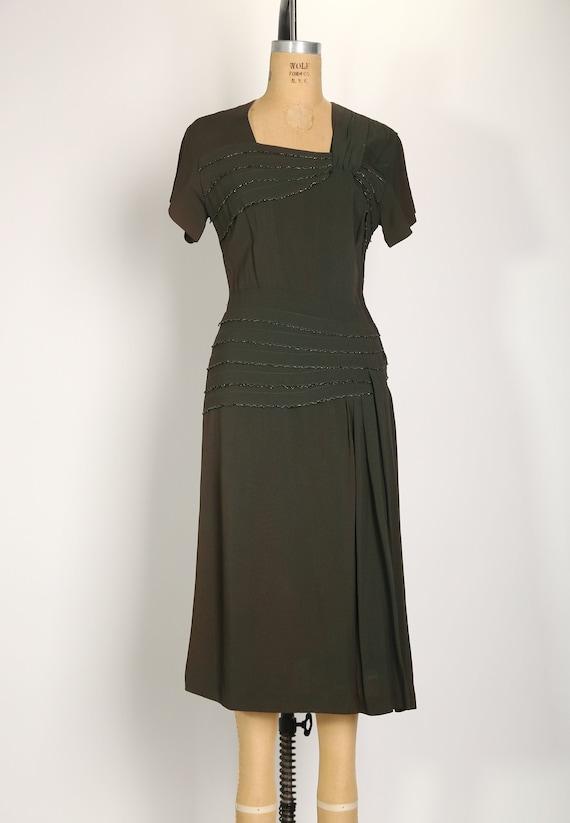 1940s Green Shimmer Dress