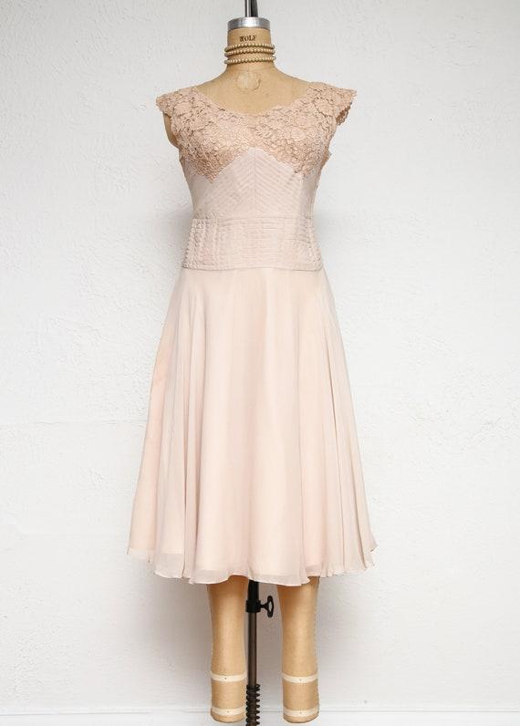 Beige Chiffon Pleated Dress - image 2