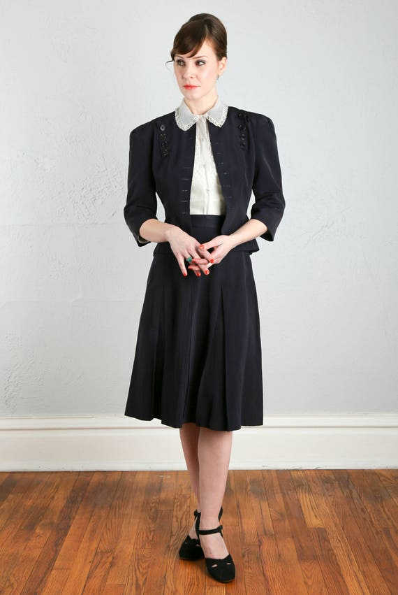 Navy Two Piece Skirt Suit 1940s