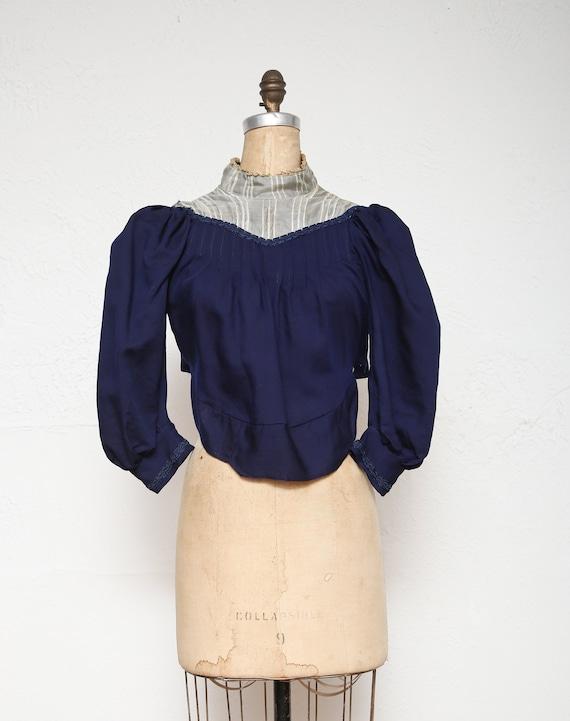 1800s Navy Blue Top . Antique Blouse - image 1