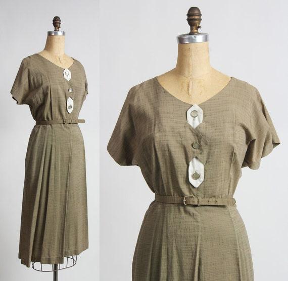 Olive Green Dress . Slubbed Cotton