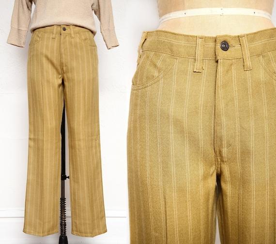 Striped High Waist Wide Leg Pants . 1970s Slacks