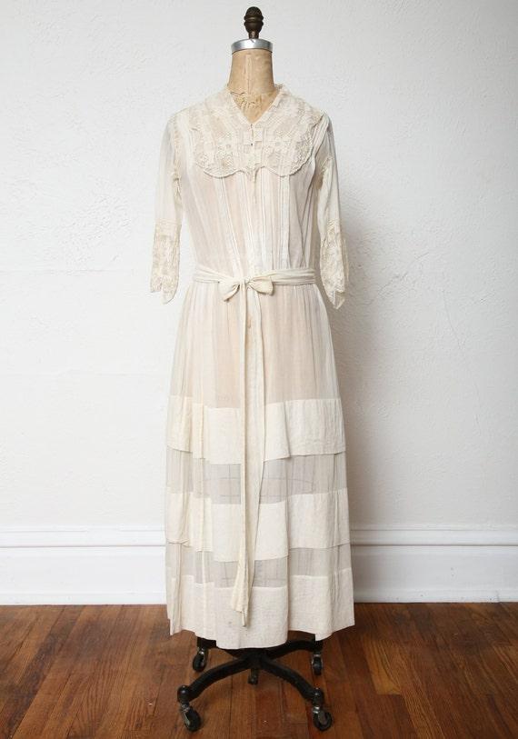 Antique 1900s Lace Dress Ivory Cotton Gown - image 2